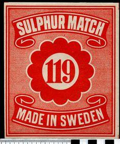 .MATCHBOX LABEL, SWEDEN, 119:1, ½ GROSS. | eBay