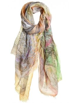 Splashes of watercolor grace a playful map of Italy and scooter print on this luxuriously soft modal-silk blend scarf.
