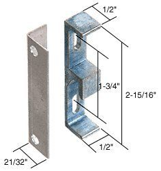 """C.R. LAURENCE E2046 CRL Aluminum 1/2"""" Wide Lock Keeper with 1-3/4"""" Screw Holes by C.R. Laurence. $8.00. With Anti-Burglar Plate This aluminum finish, zinc die-cast CRL Lock Keeper comes with a 1/2 inch (12.7 millimeter) angle bracket which is used as a special anti-burglar plate. The keeper is a face mount with vertical screw slots for adjustment. Minimum Order: 1 Package Additional Product Information: Each package contains one keeper, angle bracket and installat..."""