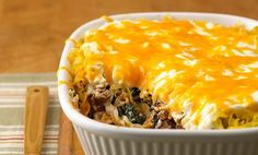 Eight-layer casserole - Follow the make ahead directions to get a head start on dinner with this great beef and cheese noodle casserole recipe.