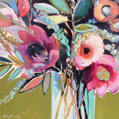 Acrylic painting inspiration, painting workshop, lovers art, still life, pa Acrylic Painting Inspiration, Art Inspiration Drawing, Acrylic Flowers, Paint Flowers, Abstract Flower Art, Floral Artwork, Floral Paintings, Painting Workshop, Erin Gregory