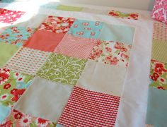 Baby Quilt - Moda Ruby - Patchwork Quilt - Baby Blanket - Modern Baby Quilt - Quilted Blanket. $125.00, via Etsy.