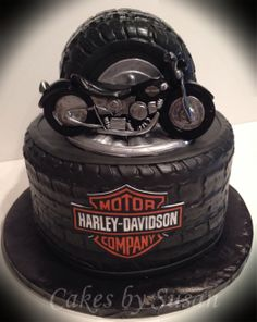 Groom's Cakes - I made the Harley out of gumpaste.