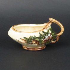 McCoy Ivy sugar bowl vtg art pottery mid century leaves vine handle green brown #McCoy #vintage