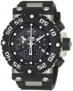 Invicta Mens 0653 Subaqua Collection Nitro Chronograph Black Polyurethane Watch ** You can get additional details at the image link.