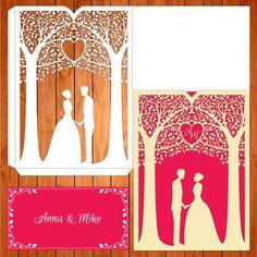 Invitación de la boda tarjeta plantilla árbol, enamorados, pareja, figuras, romántico (ai, eps, svg) lasercut descarga inmediata de thehousedesigns en Etsy