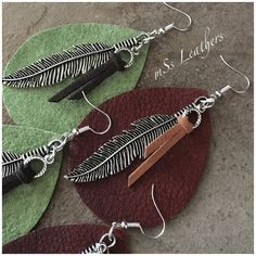 "Large Leather Earrings with Feather Focal-Pierced-Color Variations-BohoChic-Handmade-mSs-3-1/4"" Long-Trendry-Jewelry-Tassel-Leather Jewelry"
