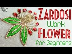 Embroidery For Beginners Sikhte Raho: Zardosi Work Flower For Beginners Hand Embroidery Work Designs, Basic Embroidery Stitches, Hand Embroidery Videos, Hand Embroidery Flowers, Simple Embroidery, Paper Embroidery, Types Of Embroidery, Learn Embroidery, Japanese Embroidery