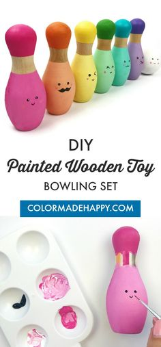 Learn how to make your own DIY Kawaii painted wooden toy bowling set. This wooden toy set makes for a wonderful birthday present for kids. Diy Gifts For Kids, Fun Crafts For Kids, Baby Crafts, Diy For Kids, Toddler Crafts, Bowling Pins, Bowling Pin Crafts, Bowling Party, Diy Craft Projects