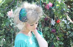 Beading and Jeweled Beetle Wing Statement Fascinator
