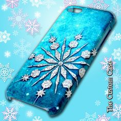 Glitter Snowflake Iphone Case, Frozen Winter Cell Phone Case, Frozen, Iphone 4, Iphone 5, Iphone 6 and Iphone 6 plus, Made In The USA #etsy  #gifts
