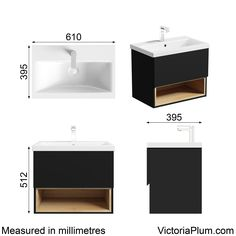 Dimensions for Mode Tate anthracite & oak 600mm wall hung vanity unit with basin
