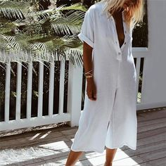 Descriptions: Style:Casual, Daytime Occassion: Daily, Holiday Neckline: Shirt Collar Sleeve Type: Short Sleeve Pattern: Solid Material: Polyester, Cotton, Line Plus Size Jumpsuit, Jumpsuit With Sleeves, Lace Jumpsuit, Ethno Style, Bohemian Style, Jumpsuit Outfit, Looks Chic, Jumpsuits For Women, Fashion Jumpsuits