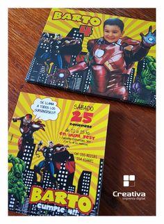 INVITACIONES + FOTOIMANES Invitaciones • Fotoimanes #Cards #fotoimanes #souvenir #impresionFullColor #PartyKids #superHeroes