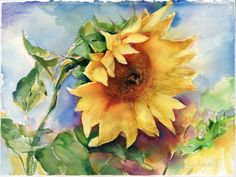 Print of Sunflower painting - Watercolor sunflower Watercolor painting - Sunflower wall art - Sunflower print