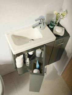 Small bathroom ideas - space-saving bathroom furniture and many clever solutions - Perfect for a tiny bathroom small bathroom ideas practical vanity sink - Tiny Bathrooms, Tiny House Bathroom, Bathroom Small, Bathroom Pink, Basement Bathroom, Space Saving Bathroom, Space Saving Toilet, Modern Sink, Small Toilet