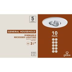 "Globe Electric 4"" Swivel Spotlight Recessed Lighting Kit Dimmable Downlight, Con"