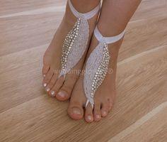 ivoire stras mariage de plage sandales aux pieds nus