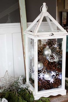 Fill lantern with pine cones, pine, ornaments, and pretties❤️ lanterns Christmas Home Tour 2014 - Ask Anna Outside Christmas Decorations, Christmas Centerpieces, Outdoor Christmas, Rustic Christmas, Christmas Home, Christmas Crafts, Christmas Holidays, Christmas Ornaments, Winter Holidays