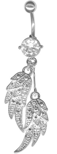 Beautiful Angel Wings Dangle Belly Ring-14g 3/8 at BodySparkle.com    #bellyring #ring #belly #barbell #dangle #crystal #jewelry #piercing #pierce   #angelwing #angel #wing