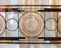 Banded Ring Depression Era Plates set into Staned Glass Panel, Transom, Sidelight, Valance