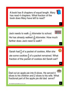Fraction Word Problems | Fractions, Decimals, Percent | Pinterest ...