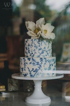 Chic blue printed wedding cake topped with white statement flowers; Featured Cake: Winifred Kristé Cake, Featured Photographer: The Analog Co. Black Wedding Cakes, Buttercream Wedding Cake, Floral Wedding Cakes, Floral Cake, Beautiful Wedding Cakes, Wedding Cake Designs, Wedding Cake Toppers, Beautiful Cakes, Cake Wedding