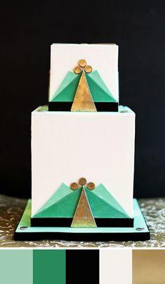 Gatsby-esque color scheme of emerald green, gold, black and hemlock green. Source: grey likes weddings #weddingcakes #gadsbytheme