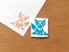 Fox stamp fox rubber stamp fox eraser stamp by CutsAndScrapes Camp Stationery, Homemade Stamps, Eraser Stamp, Stamp Carving, Pencil Eraser, Custom Stamps, Book Crafts, Handmade, Fox