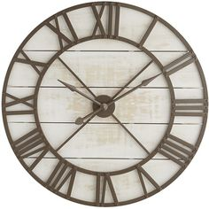 Pier 1 Imports Rustic Wall Clock ($239) ❤ liked on Polyvore featuring home, home decor, clocks, white, white wall clock, white clock, pier 1 imports, rustic clocks and roman numeral wall clock
