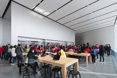 Foster + Partners completes Apple store in Hangzhou, China Norman Foster, Hangzhou, Exterior Angles, Laptop Store, Glass Stairs, Glass Walls, Foster Partners, Shops, Apple New