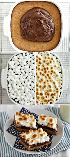 S'mores Fudge Bars // uses cookie mix but could replace with regular cookie dough recipe swapping in graham crackers?