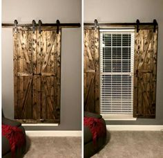 Some barn door window coverings! Store Venitien, House Blinds, Rustic Room, Rustic Barn, Rustic Nursery Boy, Rustic Style, Rustic Farmhouse, Country Style, Diy Décoration