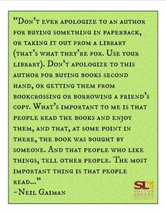 Neil Gaiman on why it's more important that you read a book -- and that you share it -- than how much you spent on it.
