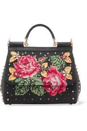 Sicily embellished lizard-effect leather tote