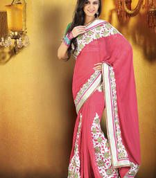 Lovely Floral designed bordered Saree (VLB-11) georgette-saree @ www.mirraw.com