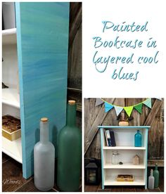 Hand Painted Bookcase in Layered Cool Blues by Just the Woods