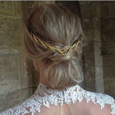 We love this creative take on our #erisheadband carefully placed on a low bun! #hairspo #lowbun #gold channeling our inner @blaireadiebee. Hair by @kaylamarshallweddinghair