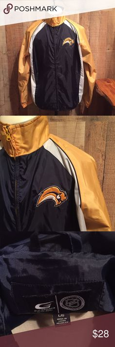 """NHL BUFFALO SABRES Jacket sz L Navy and Gold Sabres windbreaker jacket with full zip and front pockets.  Size Large measures approx 24"""" across x 29"""" long.  Excellent condition!  I'm sure this is a men's jacket but women are hockey fans too! 🏒 Jackets & Coats"""