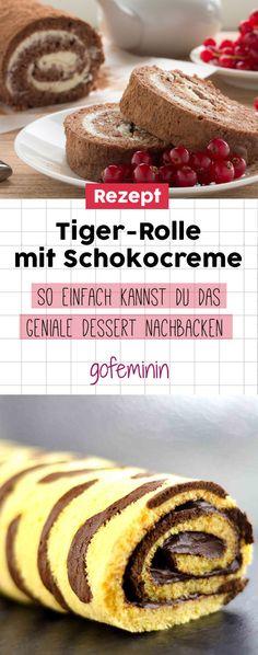 Geniales Rezept: So einfach kannst du die cremige Tigerrolle mit Schokocreme nachbacken!