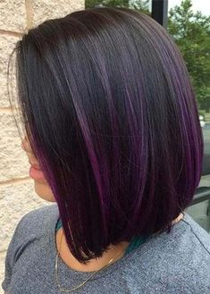 Blunt Bob With Purple Balayage hair 30 Deeply Emotional and Creative Emo Hairstyles for Girls Dark Purple Hair Color, Short Purple Hair, Purple Hair Highlights, Brown Ombre Hair, Hair Color Shades, Ombre Hair Color, Hair Color For Black Hair, Short Hair Cuts, Short Hair Styles
