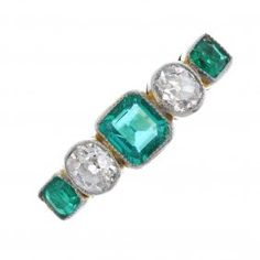 A Mid 20th Century 18ct Gold And Platinum Emerald And