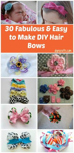 30 Fabulous and Easy to Make DIY Hair Bows--Includes the link to the instructions for each one. Some super cute bow ideas! Baby Crafts, Diy And Crafts, Arts And Crafts, Diy Hair Bows, Diy Bow, Ribbon Crafts, Ribbon Bows, Hair Ribbons, Felt Bows