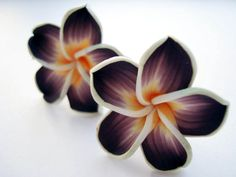 brown Hawaii flower -CLIP ON- earrings (extravagant kitchy fimo clay flower) £10.93