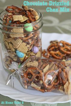 Chocolate Drizzled Chex Mix - All She Cooks