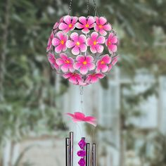 Enjoy the relaxing sounds of this illuminating solar hydrangea wind chime. 32 individual LED lights will glow as the sun goes down, highlighting each beautiful hand-painted bloom. Makes a wonderful addition to any home. Wind Chimes Online, Solar Wind Chimes, Bamboo Wind Chimes, Solar Powered Led Lights, Solar Lights, Temple Bells, Solar Lanterns, Pink Hydrangea, Small Mirrors