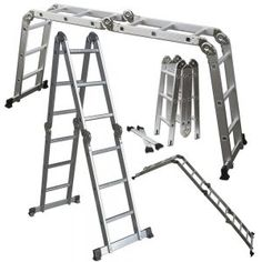 Multi-Purpose Aluminum Folding Ladder w/ Multi-Position Hinges & Safety Locks. This Multi Purpose Aluminum Folding Ladder can be used in 7 different ways making it the perfect laser for almost any situation. Metal Step Stool, Aluminium Scaffolding, Aluminium Ladder, Multi Purpose Ladder, Best Ladder, Rolling Ladder, Wood Steps