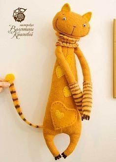 Crazy Stuffed Kitty ~ Get Ozzi - All about >>… Softies, Sock Toys, Fabric Toys, Sock Animals, Cat Pattern, Pattern Sewing, Felt Cat, Cat Doll, Cat Crafts