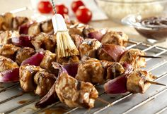 Teriyaki Pork Kabobs: Fire up the grill to make these tasty glazed pork kabobs accented with ginger, garlic, soy sauce and brown sugar.