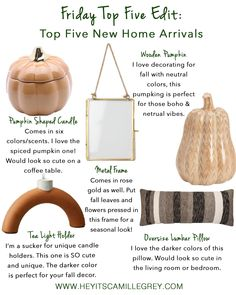 Friday Top Five Edit: New Home Arrivals | Hey Its Camille Grey #homedecor #home #pumpkins #falldecor #target #westelm #falldecorating